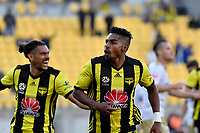 Wellington Phoenix' Roy Krishna celebrates a goal during the A League - Wellington Phoenix v Newcastle Jets at Westpac Stadium, Wellington, New Zealand on Sunday 21 October  2018. <br /> Photo by Masanori Udagawa. <br /> www.photowellington.photoshelter.com