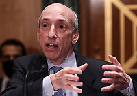 U.S. Securities and Exchange Commission (SEC) Chair Gary Gensler testifies before a Senate Banking, Housing, and Urban Affairs Committee oversight hearing on the SEC on Capitol Hill in Washington, U.S., September 14, 2021. <br /> Credit: Evelyn Hockstein / Pool via CNP /MediaPunch