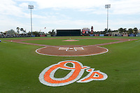General view before a Baltimore Orioles spring training game against the Pittsburgh Pirates on March 23, 2014 at Ed Smith Stadium in Sarasota, Florida.  Baltimore and Pittsburgh tied 7-7.  (Mike Janes/Four Seam Images)
