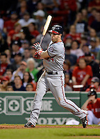 8 June 2012: Washington Nationals outfielder Bryce Harper at bat in the 9th inning against the Boston Red Sox at Fenway Park in Boston, MA. Harper was a triple shy of hitting for the cycle as the Nationals defeated the Red Sox 7-4 in the opening game of their 3-game series. Mandatory Credit: Ed Wolfstein Photo
