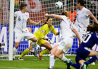 Amy Lepeilbet, Hope Solo, Homare Sawa.  Japan won the FIFA Women's World Cup on penalty kicks after tying the United States, 2-2, in extra time at FIFA Women's World Cup Stadium in Frankfurt Germany.
