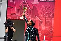 26th September 2021; Sochi, Russia; F1 Grand Prix of Russia, Race Day:  44 Lewis Hamilton GBR, Mercedes-AMG Petronas F1 Team on the podium as winner of the grand pri