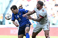 Federico Chiesa of Italy and Toby Alderweireld of Belgium compete for the ball during the Uefa Nations League 3rd and 4th place final football match between Italy and Belgium at Juventus stadium in Torino (Italy), October 10th, 2021. Photo Image Sport / Insidefoto
