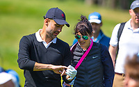 Pep Guardiola (Manchester City Manager) shows his wife his fingers during the BMW PGA PRO-AM GOLF at Wentworth Drive, Virginia Water, England on 23 May 2018. Photo by Andy Rowland.