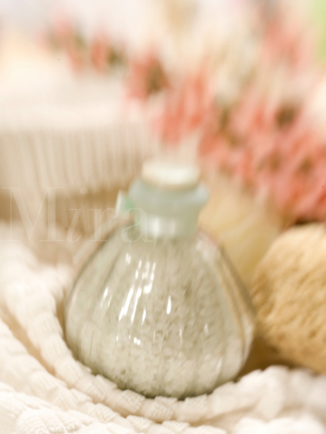 Bath Salt in Beveled Glass Bottle..