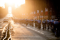 peloton rolling down the GOLDEN Champs-Elysées at sunset<br /> <br /> Stage 21: Rambouillet to Paris (128km)<br /> 106th Tour de France 2019 (2.UWT)<br /> <br /> ©kramon