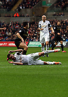 Wednesday, 01 January 2014<br /> Pictured: Angel Rangel of Swansea.<br /> Re: Barclay's Premier League, Swansea City FC v Manchester City at the Liberty Stadium, south Wales.