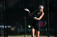 Bentonville's Glennah Langford hits, Monday, October 11, 2021 during the 6A state girls and boys tennis tournament at Memorial Park in Bentonville. Check out nwaonline.com/211012Daily/ for today's photo gallery. <br /> (NWA Democrat-Gazette/Charlie Kaijo)