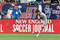 FOXBOROUGH, MA - JULY 7: Tsubasa Endoh #31 of Toronto FC clears the ball during a game between Toronto FC and New England Revolution at Gillette Stadium on July 7, 2021 in Foxborough, Massachusetts.