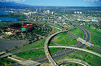 Aloha Stadium and adjacent roadways, aerial view, in Aiea on Oahu