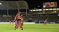 Carson, CA - August 10, 2016: FC Dallas defeats the LA Galaxy 2-1 from a goal by Victor Ulloa in extra time to advance to the 2016 Lamar Hunt U.S. Open Cup Championship match at StubHub Center.