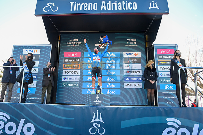 Race leader Tadej Pogacar (SLO) UAE Team Emirates retains the Maglia Azzurra at the end of Stage 6 of Tirreno-Adriatico Eolo 2021, running 169km from Castelraimondo to Lido di Fermo, Italy. 15th March 2021. <br /> Photo: LaPresse/Gian Mattia D'Alberto | Cyclefile<br /> <br /> All photos usage must carry mandatory copyright credit (© Cyclefile | LaPresse/Gian Mattia D'Alberto)