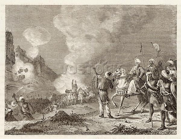 MOROCCO - Abu-Yusuf Sultan use gunpowder to bombard Sidi- Mesa. / Merveilles de la Science Figuier. / 1273