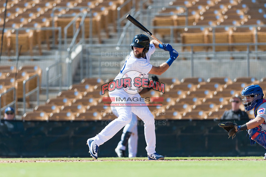 Glendale Desert Dogs designated hitter Cody Thomas (40), of the Los Angeles Dodgers organization, at bat during an Arizona Fall League game against the Mesa Solar Sox at Camelback Ranch on October 15, 2018 in Glendale, Arizona. Mesa defeated Glendale 8-0. (Zachary Lucy/Four Seam Images)