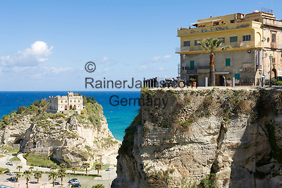 Italy, Calabria, beach resort Protea: view point Largo Villetta and L'Isola (island) with sanctuary Santa Maria dell'Isola