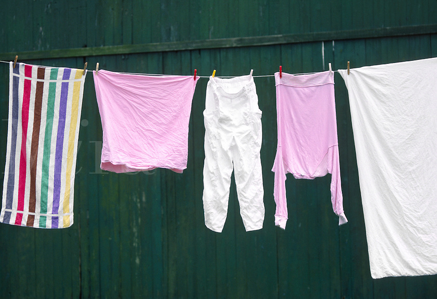 LAUNDRY hangs on a line to dry - THE NETHERLANDS