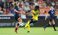 HOUSTON, TX - JUNE 13: Lindsey Horan #9 of the United States gets after a ball during a game between Jamaica and USWNT at BBVA Stadium on June 13, 2021 in Houston, Texas.