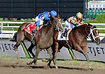 16 August 2008: Proud Spell (2) digs deep to hold off the late-charging Music Note in the Alabama Stakes at Saratoga Race Course in Saratoga Springs, New York.  Proud Spell turned the tables on 2-5 favorite Music Note (1) to win the 128th running of the race.