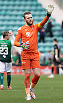 Hibs v St Johnstone…22.09.21  Easter Road.    SPFL<br />Zander Clarker acknowledges the travelling saints fans at full time<br />Picture by Graeme Hart.<br />Copyright Perthshire Picture Agency<br />Tel: 01738 623350  Mobile: 07990 594431