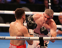 9th October 2021; M&S Bank Arena, Liverpool, England; Matchroom Boxing, Liam Smith versus Anthony Fowler; LIAM SMITH (Liverpool, England)hooks ANTHONY FOWLER (Liverpool, England) during their WBA International Super-Welterweight Title contest