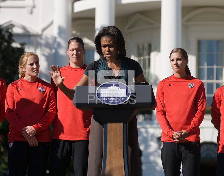 Michelle Obama. Michelle Obama hosted a Lets Move! soccer clinic held on the South Lawn of the White House assisted by members of the USWNT.  Let's Move! was started by Mrs. Obama as a way to promote a healthier lifestyle in children across the country.