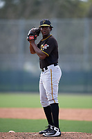 Pittsburgh Pirates relief pitcher Deivy Mendez (46) gets ready to deliver a pitch during a Florida Instructional League game against the Detroit Tigers on October 2, 2018 at the Pirate City in Bradenton, Florida.  (Mike Janes/Four Seam Images)