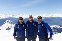 CRANS-MONTANA, SWITZERLAND - MAY 28: Nico Estevez, Gregg Berhalter, Alex Nouri at Pointe de la Plaine Morte on May 28, 2021 in Crans-Montana, Switzerland.