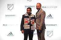 Philadelphia, PA - Thursday January 19, 2018: Niko DeVera, J. Todd Durbin during the 2018 MLS SuperDraft at the Pennsylvania Convention Center.