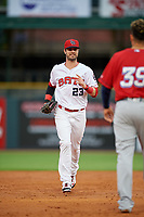Louisville Bats right fielder Jesse Winker (23) jogs to the dugout during a game against the Columbus Clippers on May 1, 2017 at Louisville Slugger Field in Louisville, Kentucky.  Columbus defeated Louisville 6-1  (Mike Janes/Four Seam Images)