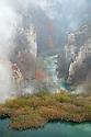 Limestone gorge below the 'Sastavci' waterfalls, Plitvice Lakes National Park, Croatia. November.