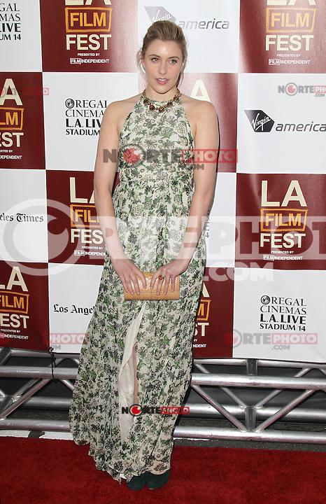 Greta Gerwig at Film Independent's 2012 Los Angeles Film Festival Premiere of 'To Rome With Love' at Regal Cinemas L.A. LIVE Stadium 14 on June 14, 2012 in Los Angeles, California. ©mpi21/MediaPunch Inc. NORTEPHOTO.COM<br /> NORTEPHOTO.COM<br /> *credito*obligatorio*<br /> *SOLO*VENTA*EN*MEXICO*