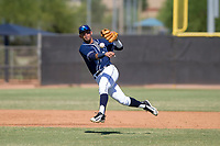 San Diego Padres shortstop Gabriel Arias (65) makes a throw to first base during an Instructional League game against the Milwaukee Brewers on September 27, 2017 at Peoria Sports Complex in Peoria, Arizona. (Zachary Lucy/Four Seam Images)