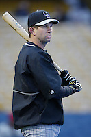 Todd Helton of the Colorado Rockies before a 2002 MLB season game against the Los Angeles Dodgers at Dodger Stadium, in Los Angeles, California. (Larry Goren/Four Seam Images)