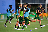 LAKE BUENA VISTA, FL - JULY 18: Portland Timbers players warm up during a game between Houston Dynamo and Portland Timbers at ESPN Wide World of Sports on July 18, 2020 in Lake Buena Vista, Florida.