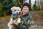 Nora Neville with her dog Pebbles in the Killarney National park on Friday