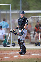 Miami Marlins catcher Gunner Pollman (59) during a minor league Spring Training game against the New York Mets on March 26, 2017 at the Roger Dean Stadium Complex in Jupiter, Florida.  (Mike Janes/Four Seam Images)