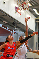 Tayra Melendez (1) of Puerto Rico , A. Elonu (11) of Nigeria pictured during a basketball game between Nigeria and Puerto Rico on Friday 28 th of May 2021 in Kortrijk , Belgium . PHOTO SPORTPIX.BE | SPP | STIJN AUDOOREN