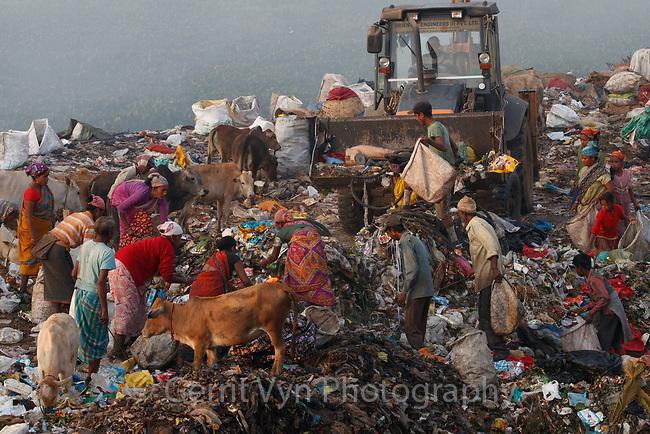 Ragpickers at Boragaon Landfill. Assam, India.