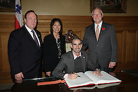 October 29 2012 - Montreal, Quebec, CANADA - Gerald Tremblay, Mayor of Montreal receive at City Hall  local athletes who took part in London 2012  Olympics and Paralympics games. IN PHOTO :  Benoit Huot