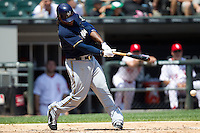 Milwaukee Brewers second baseman Rickie Weeks #23 swings during the Major League Baseball game against the Chicago White Sox on June 24, 2012 at US Cellular Field in Chicago, Illinois. The White Sox defeated the Brewers 1-0 in 10 innings. (Andrew Woolley/Four Seam Images).