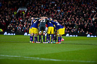 Sunday 05 January 2014<br /> Pictured:Swansea Huddle<br /> Re: Manchester Utd FC v Swansea City FA cup third round match at Old Trafford, Manchester