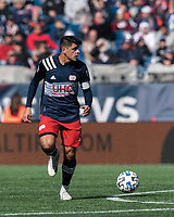 FOXBOROUGH, MA - MARCH 7: Gustavo Bou #7 of New England Revolution looks to pass during a game between Chicago Fire and New England Revolution at Gillette Stadium on March 7, 2020 in Foxborough, Massachusetts.