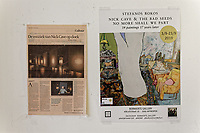 "Pictured: The exhibition poster and a newspaper cutting. Tuesday 03 September 2019<br /> Re: Opening of ""No More Shall We Part, 14 Paintings, 17 Years Later"", a collection of paintings based on the Nick Cave and the Bad Seeds album with the same name, by Stefanos Rokos at Bernerts Gallery in Antwerp, Belgium."