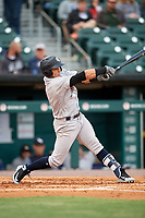 Scranton/Wilkes-Barre RailRiders third baseman Vicente Conde (21) follows through on a swing during a game against the Buffalo Bisons on May 18, 2018 at Coca-Cola Field in Buffalo, New York.  Buffalo defeated Scranton 5-1.  (Mike Janes/Four Seam Images)