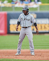 Jose Pirela (12) of the El Paso Chihuahuas takes a lead from second base against the Salt Lake Bees in Pacific Coast League action at Smith's Ballpark on April 30, 2017 in Salt Lake City, Utah. El Paso defeated Salt Lake 12-3. This was Game 2 of a double-header originally scheduled on April 28, 2017.  (Stephen Smith/Four Seam Images)