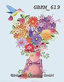 Kate, FLOWERS, BLUMEN, FLORES, paintings+++++Vase with humming bird.,GBKM619,#f#, EVERYDAY