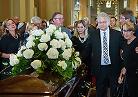 Family members of of Paul Gerin-Lajoie look on following his funeral at Mary Queen of the World Cathedral  in Montreal, Thursday, August 9, 2018.THE CANADIAN PRESS/Graham Hughes