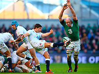 01.03.2015.  Dublin, Ireland. 6 Nations International Rubgy Championship. Ireland versus England.<br /> Paul O'Connell (Captain Ireland) charges down a kick from Ben Youngs (England).