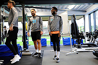 (L-R) Cameron Carter-Vickers and Nathan Dyer of Swansea City in the gym during the Swansea City Training at The Fairwood Training Ground in Swansea, Wales, UK. Tuesday 08 January 2019