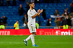 Eden Hazard of Real Madrid celebrate the victory after La Liga match between Real Madrid and CD Leganes at Santiago Bernabeu Stadium in Madrid, Spain. October 30, 2019. (ALTERPHOTOS/A. Perez Meca)